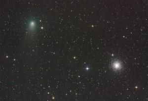 Abb. 2: Komet Garradd in knapp 1° Abstand von M 15 am 2.8.2011, um 1:28 MESZ. [Norbert Mrozek]