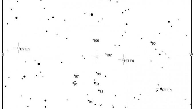 Karte mit Vergleichssternhelligkeiten der Nova Eridani 2009, erstellt mit dem Variable Star Plotter der AAVSO