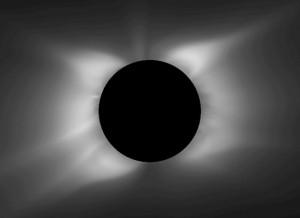So soll die Sonnenkorona am 11. Juli 2010 um 19:33 UTC aussehen: Eine magnetohydrodynamische Modellrechnung am 6. Juli aufgrund von Messungen und Prognosen des Magnetfelds der Sonne liefert diesen Anblick, der die Beobachter im Pazifik erwarten soll. [Predictive Science, Inc.]