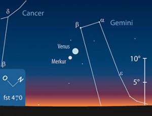 Merkur und Venus am 20.6. kurz nach Sonnenuntergang. [F. Gasparini, interstellarum]