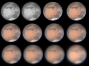 """Ein kleiner Staubsturm zieht über die Nordpolkappe. Das Bild vom 1.2.2010 zeigt verschiedene Bearbeitungsstufen der Bildbearbeitung sowie doppelt den Rotkanal. Die Bildbearbeitung wurde mit der Software Registax durchgeführt. 16""""-SCT bei 12000mm, Imagingsource DBK 21AU04.as, 1/25×400s, Baader UV/IR Blocking Filter, 420-680 nm-Filter. [Günther Strauch]"""