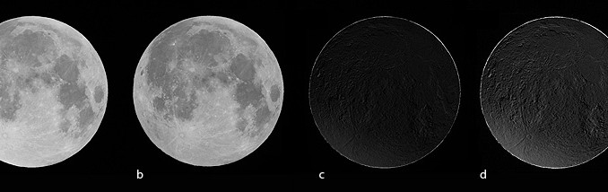 Der griechische Astrofotograf Anthony Ayiomamitis fotografierte den Vollmond am 6.8. kurz vor (a) und während (b) der Finsternis. Belichtungszeiten, ISO-Einstellungen und Weißabgleich waren identisch. Zieht man beide Bilder voneinander ab (c), wird der Halbschatten bereits deutlich, verstärkt dargestellt in Abbildung (d). [Anthony Ayiomamitis]