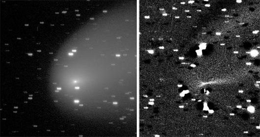 Komet 217P/LINEAR am 16. Oktober, wie ihn das südliche Faulkes-Teleskop sah, 140 Sekunden belichtet durch einen Rotfilter. In der rechten Version wurde ein um 12° gedrehtes Negativbild subtrahiert, um radiale Staubstrukturen in der Koma hervorzuheben. Bildfeld 4,5'. [Las Cumbres Observatory Global Telescope Network]