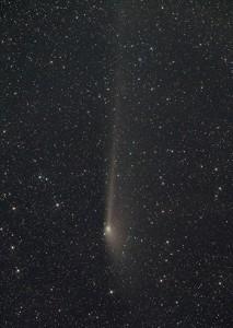 """Der sich wandelnde Anblick des Kometen PANSTARRS am 5., 19.und 28. Mai auf Aufnahmen mit 200mm-Teleobjektiv, 3,5""""-Refraktor und 50mm-Objektiv. Der Gegenschweif vom 28. Mai ist fotografisch 14° lang, im 16×70-Fernglas konnte man ca. 2° davon sehen. [Thilo Schramm, Norbert Mrozek, Wolfgang Vollmann]"""