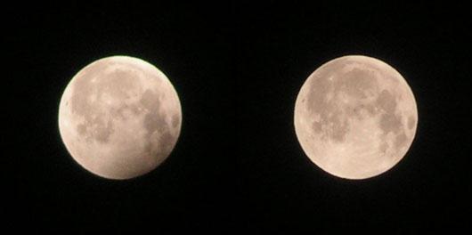 Links: 0:52 MESZ, Mond im Halbschatten der Erde. Rechts: 2:13 MESZ, unverfinsterter Vollmond. Aufnahmen mit Digitalkamera Minolta Z2 auf Stativ bei 63mm Brennweite, ISO 100, Belichtungszeit 1/500s bei Blende 5,0. [Wolfgang Vollmann]