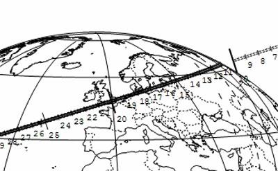 Der Schattenpfad des Asteroiden (234) Barbara am Morgen des 21. November über Europa, nachdem er zuvor Zentralflorida und den Atlantik überquerte — Kenntnisstand bzgl. Asteroidenbahn und Sternposition vom 30. Oktober. [Steve Preston]