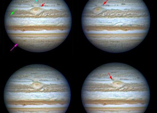 Sequenz von Aufnahmen am 2., 3., 4. und 5.7.2008. Türkis markiert ist WOS-BA, rot markiert der kleine rote Fleck am Südrand des SEB. [I. Miyazaki]