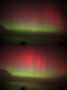 Polarlicht vom 27.2.2014. Canon EOS 5D Mk II, ISO 2000, 24mm-Objektiv bei f/1,4, je 5s. Aufgenommen am Bülker Leuchtturm in Kiel. [Carsten Jonas]