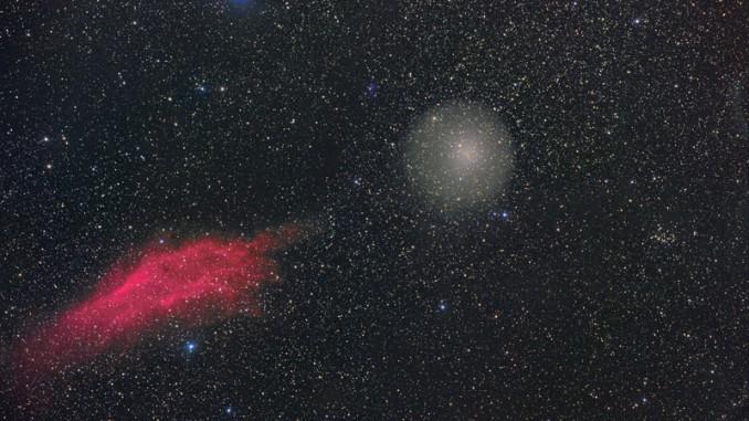 17P/Holmes nähert sich langsam dem California-Nebel. Digitalfoto, 24.2.2008, 20:30 MEZ, 180mm-Refraktor bei f/3,4, SIGMA 6303-Kamera, 2×6min(L), je 500s (RGB), 2×750s (Hα). [Michael Jäger]