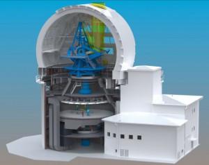So ungefähr wird das Advanced Technology Solar Telescope einmal aussehen: ein Entwurf vom Mai 2009. [L. Phelps/NSO]