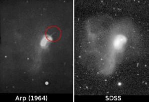 Arp 192 hat keinen Stachel: Der vermeintliche spektakuläre Jet der Galaxie NGC 3303 auf einem Bild von 1964 (links), der zu ihrer Aufnahme in den Katalog ungewöhnlicher Galaxien als Arp 192 führte, existiert nicht, wie z.B. das entsprechende Bild aus der Sloan Digital Sky Survey (rechts) zeigt. [J. Kanipe]