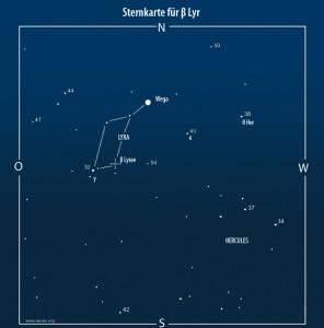 Abb. 2: Sternkarte mit Vergleichshelligkeiten [AAVSO]