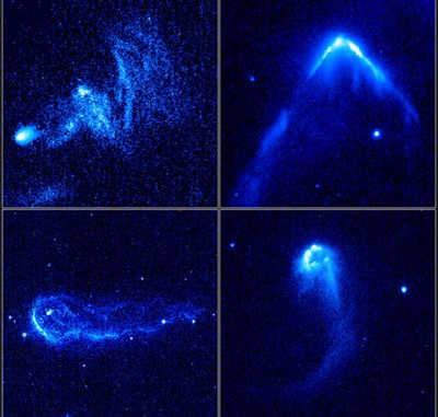 Die Bugschocks von vier schnellen jungen Sternen, die durch das interstellare Medium pflügen, typischerweise fünfmal schneller als gewöhnlich. Ihr starker Sternwind kollidiert mit dem Gas der Milchstraße und leuchtet auf. [NASA, ESA und R. Sahai (NASA's Jet Propulsion Laboratory)]