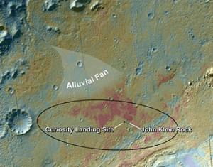 Innerhalb des Gale-Kraters landete Curiosity am 5.8.2012. Die erste analysierte Gesteinsprobe lieferte unweit des Landeplatzes ein kleinerer Gesteinsbrocken »John Klein Rock«. Nordwestlich der Bohrstelle befindet sich eine Sedimentansammlung »Alluvial Fan«, die durch Oberflächenwasser angetragen worden sein könnte. [NASA/JPL-Caltech/ASU]