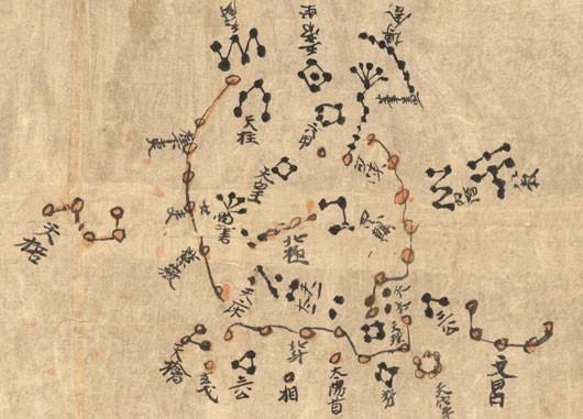 Die polare Sternkarte des Himmelsatlas aus einer Höhle bei Dunhuang in Nordwest-China, der nach neuen Forschungen aus dem 7. Jahrhundert stammt. Unter den Sterngruppen fällt der Große Wagen auf; ein eindeutiger Polarstern ist hingegen nicht auszumachen. [J.-M. Bonnet-Bidaud (CEA, Saclay), F. Praderie (Obs. Paris) S. Whitfield (British Library)]