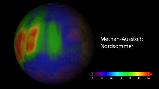 Die Methan-Konzentration in der Marsatmosphäre zu einem Zeitpunkt im Nordsommer. Viel ist es nicht: Die Farbskala zeigt Teile pro Milliarde an. [NASA]