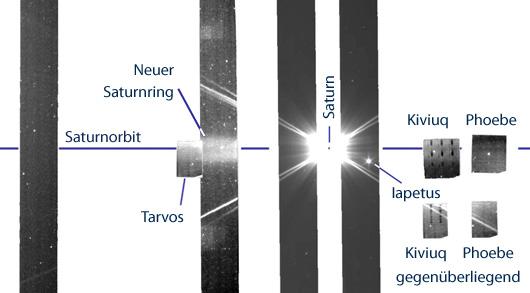 Nicht so schön wie ein typisches Saturn-Foto, aber die buchstäblich »größte« Entdeckung in seinem System: Drei Spitzer-Scans enthüllen einen unbekannten Ring weit draußen, der mit dem Mond Phoebe zusammenhängt. [A. Verbiscer et al.]