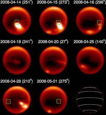 Der Sturmausbruch auf dem Titan im April 2008, gesehen vom Gemini-Nord-Teleskop mit Adaptiver Optik bei 2,1µm Wellenlänge, in denen die Troposphäre des Saturnmonds zu sehen ist. Angegeben sind Datum und Zentralmeridian. Das grüne Quadrat markiert den Ort 15°S 250°W, wo Ende des Monats noch eine schwache Wolke zu sehen war und der Ausbruch seinen Anfang genommen haben könnte. [Emily Schaller et al./Gemini Observatory]