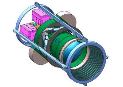 Aufbau der Kamera für die Dark Energy Survey in Chile: Die Korrekturlinsen vorne, die die optische Verbindung zum 4-m-Blanco-Teleskop herstellen, gehören mit bis zu einem Meter Durchmesser zu den größten der Optikgeschichte. [Fermilab]