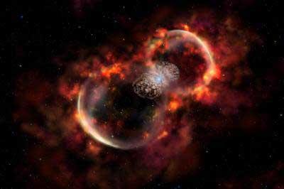 Halb echtes Foto, halb künstlerische Ergänzung: Weil die jetzt nachgewiesenen viel schnelleren Ejekta der Eruption des Jahres 1843 von Eta Carinae nur spektroskopisch auffallen, sind sie hier hinzugemalt worden. Die Ejekta haben eine langsamere Schale von einem Ausbruch vor etwa 1000 Jahren erreicht, die nun zum Leuchten angeregt werden. Der bekannte Homunculus-Nebel im Zentrum besteht aus langsameren Ejekta von 1843. [Gemini Observatory/Lynette Cook]