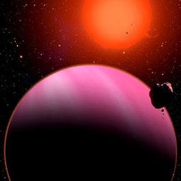 Die künstlerische Darstellung zeigt den Planten HAT-P-11b vorne in einer ungewöhnlichen Farbe: Eigentlich wäre er so blau wie der Neptun, aber seine Sonne hat als K4-Zwerg stark rötliches Licht. [David A. Aguilar (CfA)]