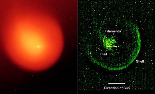 Eine IR-Aufnahme von Holmes bei 24µm Wellenlänge vom 13. März 2008, rechts extrem kontrastgesteigert, um bislang unerklärte Filamentstrukturen in der Koma sichtbar zu machen. Auch der »Trail« soll zu dem Kometen gehören: ein kleines Fragment, das ihn begleitet. [NASA/JPL-Caltech]