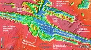 Im Zentralbereich des Valles Marineris finden sich nach derzeitiger Interpretationen die deutlichsten Anzeichen für aktive Plattentektonik auf dem Mars: Um bis zu 150km zeigen sich die Kraterwände eines alten Einschlags-Bassins versetzt. [Google Mars, MOLA Science Team]