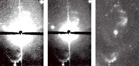 Die Ausflüsse in der Nähe des Sterns Mira, links im Hα-Licht (9nm Bandbreite) bei zwei verschiedenen Kontrasteinstellungen, rechts im fernen Ultravioletten. Beim Hα-Bild wurde der Stern durch einen Metallstreifen abgedeckt. [Meaburn et al.]