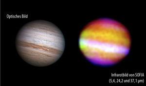 Rechts ein Infrarotbild vom Jupiter aus Aufnahmen, die SOFIA während des »First Light«-Fluges bei Wellenlängen von 5,4µm (Blau), 24µm (Grün) and 37µm (Rot) gemacht hat. Zum Vergleich links ein aktuelles Bild von nahezu derselben Jupiterseite in optischen Wellenlängen. [Anthony Wesley bzw. NASA/DLR/Cornell University]