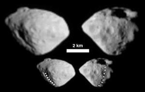 Ansichten des kleinen Asteroiden Šteins mit der Kamera OSIRIS von Rosetta im September 2008: Oben die beiden schärfsten Bilder, darunter dieselben noch einmal, mit einer großen Verwerfung (links) bzw. einer Kette aus sieben Kratern markiert. [ESA © 2008 MPS for OSIRIS Team MPS/UPD/LAM/IAA/RSSD/INTA/UPM/DASP/IDA]