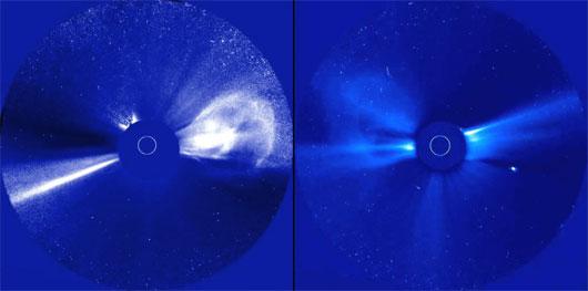 Derselbe koronale Massenauswurf der Sonne — vom 12.12.2008 — aus Sicht identischer Koronographen auf den beiden STEREO-Satelliten: Für einen bewegte sich die Plasmablase nach rechts, für den anderen nach links. Ein stereoskopisches Bildpaar lässt sich aus diesen Aufnahmen zwar nicht erstellen, aber man kann die räumliche Gestalt und die Bewegung der Wolke modellieren. [NASA]