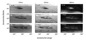 Die Entwicklung des Wesley-Flecks vom 23. Juli bis 8. August, wie sie das Hubble Space Telescope mit der brandneuen Kamera WFC3 in drei Wellenlängen verfolgen konnte. Bei 889nm erscheint die Wolke hell vor dunklem Hintergrund, denn hier absorbiert Methan in Jupiters Atmosphäre einen Großteil des Sonnenlichts, und die Wolke schwebt weit darüber. [Hammel et al.]