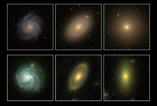 """Die neu entdeckten roten Spiralgalaxien (mittlere Spalte) stellen ein gerade offensichtliches """"fehlendes Bindeglied"""" zwischen den klassischen blauen Spiralen (links) und den armlosen roten Galaxien (rechts) dar; oben Bilder der SDSS, unten von Hubble. [SDSS/STAGES/COMBO-17]"""