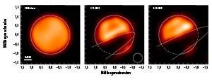 Echte Bilder der beginnenden Verfinsterung des Hauptsterns im Doppelsternsystem Epsilon Aurigae im nahinfraroten H-Band. Die Aufnahmen wurden mit dem CHARA-Interferometer auf dem Mt. Wilson in Kalifornien erzeugt: Links ein Vergleichsbild vor dem Beginn, daneben zwei Phasen der fortschreitenden Verfinsterung. [John D. Monnier, University of Michigan]