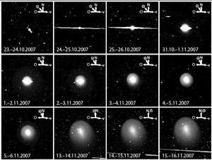 So verfolgte das Kamerasystem SuperWASP-N den Ausbruch des Kometen 19P/Holmes von der Nacht des 23. Oktober bis Mitte November: Jedes Bild hat 1° Gesichtsfeld und wurde 30 Sekunden lang belichtet – was in den ersten Nächten zu gewaltigen Überstrahlungen führte. Die eingezeichneten Vektoren zeigen nach Norden, Osten, zur Sonne und entgegen der Kometenbewegung (–v). [Hsieh et al.]
