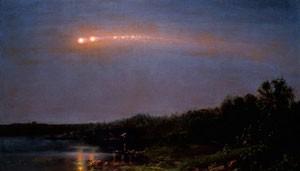 Auch im Gemälde »The Meteor of 1860« von Frederic Church ist das seltene Himmelsspektakel einer »Meteor-Prozession« vom 20. Juli 1860 festgehalten, das damals in den USA gewaltiges Aufsehen erregt hatte, seitdem aber völlig in Vergessenheit geriet. [Texas State University; mit freundlicher Genehmigung Judith Filenbaum Hernstadt]