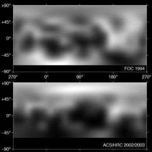Das Ergebnis der Analyse sind mehrere vergleichbare Gesamtkarten Plutos, hier zwei durch ähnliche Blau-Filter um 420nm Wellenlänge aufgenommen. Nicht alle scheinbaren Veränderungen zwischen der FOC-Karte (oben) und der ACS-Karte sind real, aber die überraschende Aufhellung des Nordens ist auf jeden Fall echt. [NASA, ESA, and M. Buie]