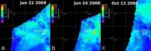 Infrarotbilder der Venusoberfläche im Gebiet von Ganiki Chasma. Auf dem mittleren Bild zeigt sich eine thermische Anomalie mit stark erhöhtem Wärmefluss, die wahrscheinlich auf einen aktiven Vulkan hinweist. Rund dreieinhalb Monate später, am 13. Oktober 2008, zeigt sich in dem entsprechenden Gebiet keine erhöhte Temperatur mehr. [Shalygin, E. V. et al]