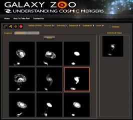 Die Benutzeroberfläche der neuesten Erfindung aus dem »Galaxy Zoo«: Das echte Bild verschmelzender Galaxien — in der Mitte — muss mit acht Simulationen verglichen werden, die nach einigen Iterationen immer genauer passen sollen. [George Mason University]