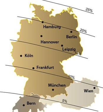 Abb.: Bedeckungsgrad der Sonnenfinsternis am 1. August im deutschen Sprachraum
