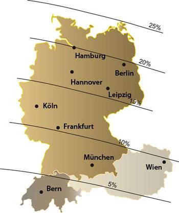 Bedeckungsgrad der Sonnenfinsternis am 1. August im deutschen Sprachraum