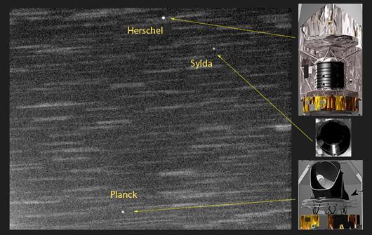 Die Spuren der Satelliten Herschel und Planck sowie der Raketenhalterung Sylda am 18.5.2009. [Gustavo Muler]