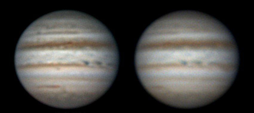 Jupiter mit den neuen blauen Flecken im NEB am 21.3.2012. [Hideo Einaga]