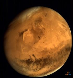 Der andere Beteiligte: der Mars aus 66543km Höhe, aufgenommen von der Mars Color Camera der Ende September eingetroffenen Mars Orbiter Mission Indiens. [ISRO]