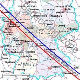 Mars wird nur in einem Teil des deutschen Sprachraums bedeckt. Die Karte zeigt die besonders interessante Zone der streifenden Bedeckung.