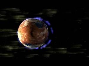 Die Marsatmosphäre ist sehr dünn. Ihr Druck auf der Marsoberfläche entspricht in etwa dem Luftdruck der Erdatmosphäre in 35 Kilometern Höhe. Vornehmlich auf der Nachtseite verliert Mars auch heute noch Moleküle aus seiner Lufthülle [NASA]