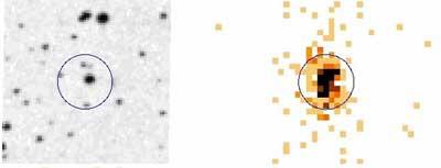 Abb.: Die Nova V598 Puppis, links im Optischen und rechts als Röntgenquelle von XMM-Newton aufgenommen. [ESA/ XMM-Newton/ EPIC (adapted from A. Read et al.)]