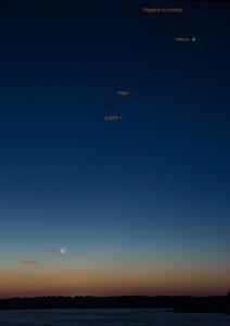 Planetenparade am 11. Oktober 2015: Merkur, Mond, Jupiter, Mars und Venus in einer Reihe! [Rainer Sparenberg]