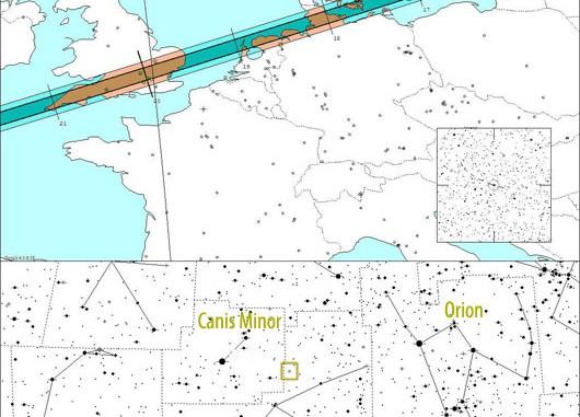 Schattenpfad des Asteroiden (234) Barbara am 21. November sowie der Ort der Sternbedeckung im Sternbild Monoceros. [Steve Preston]