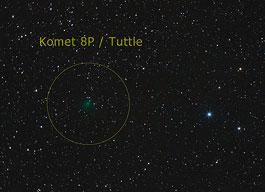 Komet 8P/Tuttle am 17.11., Canon EF 200mm f/2,8, Canon EOS 40D, 1000 ASA, 6×4min. [Peter Heinzen]